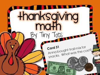SCOOT Thanksgiving Theme Math Game task cards meets common core