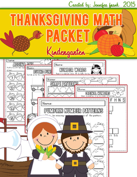 Thanksgiving Theme Math Packet for Kindergarten