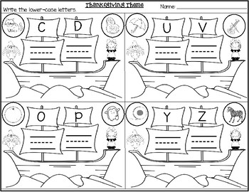 Thanksgiving Theme-Mayflower Alphabets-Write Upper and Lower case letters
