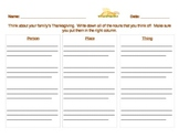 Thanksgiving Theme Nouns (People, Places, Things)