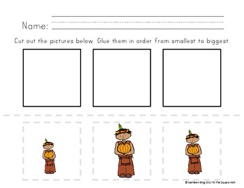 Thanksgiving Theme Ordering by Size Activity