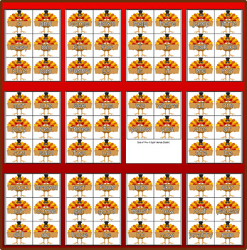 Thanksgiving Theme Sight Word Centers