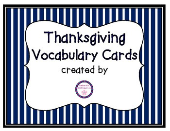 Thanksgiving Theme Vocabulary Cards
