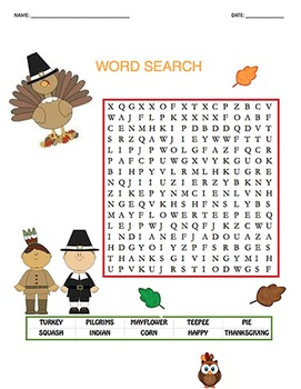 Thanksgiving Theme Word Search - Sight Words #01