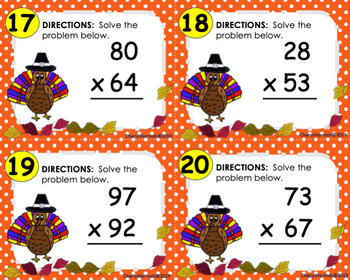 Thanksgiving-Themed 2 digit by 2 digit Multiplication Task Cards
