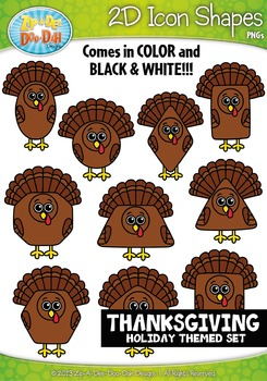 Thanksgiving Themed 2D Icon Shapes Clipart Set — Includes