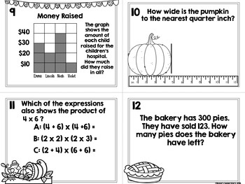 3rd Grade Spiral Math Task Cards With Optional QR Codes: Thanksgiving Themed
