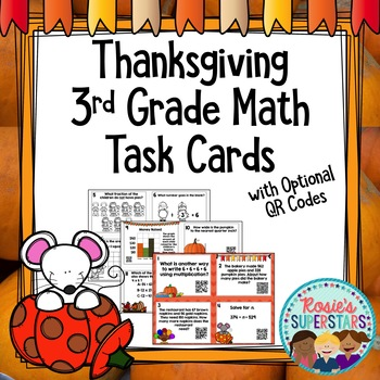 3rd Grade Spiral Math Task Cards With Optional QR Codes: T