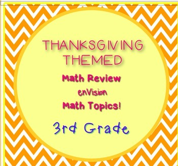 Thanksgiving Themed 3rd Grade enVision Math Questions 30 task cards