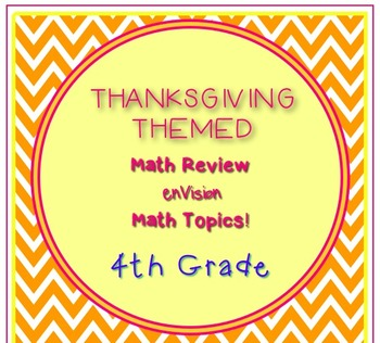 Thanksgiving Themed 4th Grade enVision Math Questions 30 task cards
