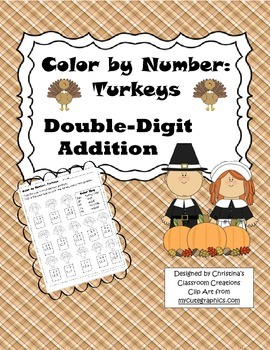 Thanksgiving Turkey Double-Digit Addition: Color by Number