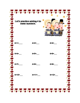 Thanksgiving Themed -Addition to 20 -Sequenced Printable Worksheets