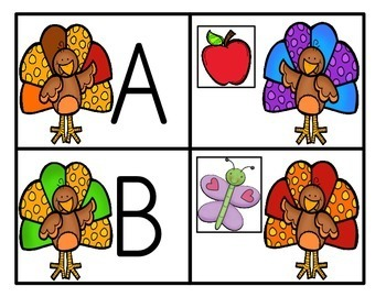 Thanksgiving Themed Alphabet Match-Up