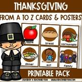 Thanksgiving Themed Alphabet Posters | ESL Vocabulary