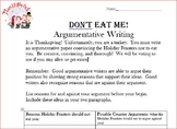 Thanksgiving Themed Argumentative Writing