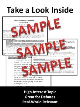 Obesity Prompt Argumentative with Text-Based Stimuli & Sample Essay