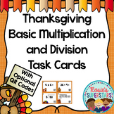 Thanksgiving Themed Basic Multiplication and Division Task Cards with QR Codes