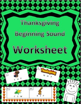 Thanksgiving-Themed Beginning Word Identification Worksheet
