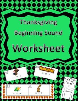 Thanksgiving-Themed Beginning Word Identification Worksheet