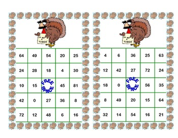 Thanksgiving Themed Bingo Game for Multiplication Tables    0-10