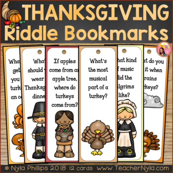Thanksgiving Themed Bookmarks with Silly Joke Riddles