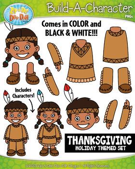 Thanksgiving Build-A-Character Clipart {Zip-A-Dee-Doo-Dah Designs}