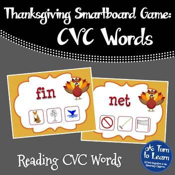 Thanksgiving CVC Game: Find the CVC Picture (Smartboard/Promethean Board)