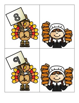 Thanksgiving Themed Centers - Pumpkin Pie Memory - Count and Match 0-10