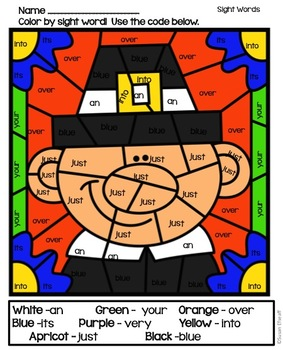 Sight Word Coloring Sheets - Thanksgiving Themed Color by ...