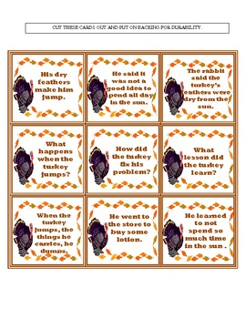 Thanksgiving Themed Comprehension Learning Center The Jerky Turkey