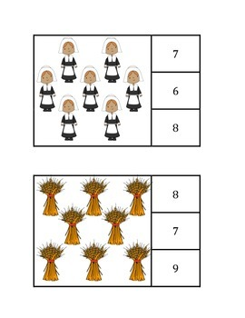 Thanksgiving Themed Count and Clip Cards