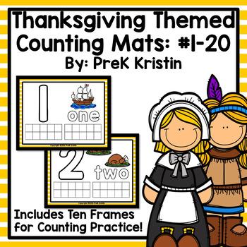 Thanksgiving Themed Playdough (Counting) Mats: #1-20
