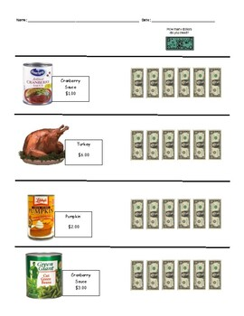 Thanksgiving Themed - Counting the Dollars