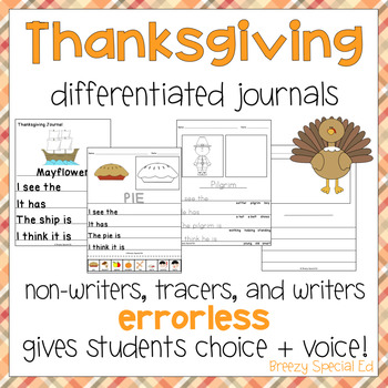 Thanksgiving Themed Differentiated Journal Writing for Special Education