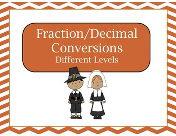 Thanksgiving Themed Fraction/Decimal Conversion Game
