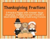 Thanksgiving-Themed Fractions Practice: Simplifying, Improper, Add & Subtract