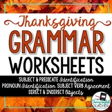 Thanksgiving Grammar Worksheets: No prep, easy sub plans