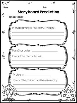 Reading Graphic Organizers for Reading Comprehension: Thanksgiving Themed