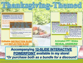 Thanksgiving-Themed Homophones Daily Practice
