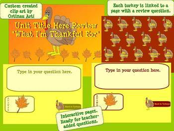 Thanksgiving Themed Interactive SMARTBoard Game