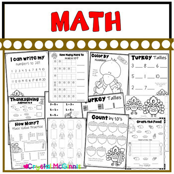 Thanksgiving Themed Kindergarten Common Core Literacy and Math Printables