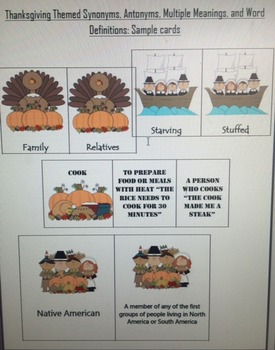 Thanksgiving Themed Language: Antonyms, Synonyms, Multiple Meanings, Word Def