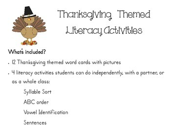 Thanksgiving Themed Literacy Activies
