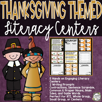Thanksgiving Themed Literacy Centers {5 Hands on Literacy