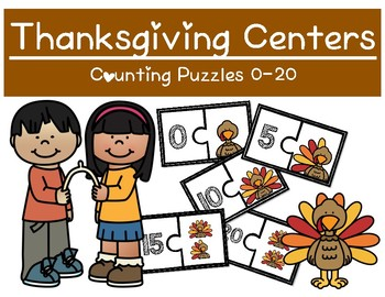 Thanksgiving Themed Math Centers - Counting objects 0-20 Puzzles