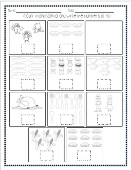 Thanksgiving Themed Math & Phonics Kindergarten Printables Pack