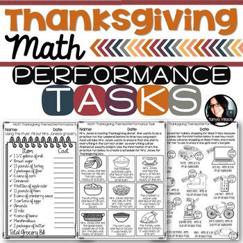 Thanksgiving Themed Math Printables Grades 4-6 Performance Tasks