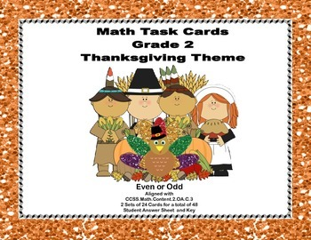 Thanksgiving Themed Math Task Cards- Grade 2- Odd and Even Numbers