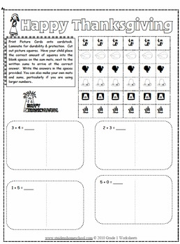 Thanksgiving Themed Math Worksheets Grade 1