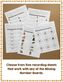 Thanksgiving Themed Missing Number Boards NBT.1